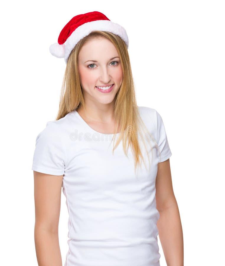 女孩wih x mas帽子 库存图片