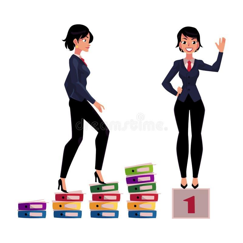 年轻女实业家上升的事业梯子和身分在优胜者垫座 皇族释放例证