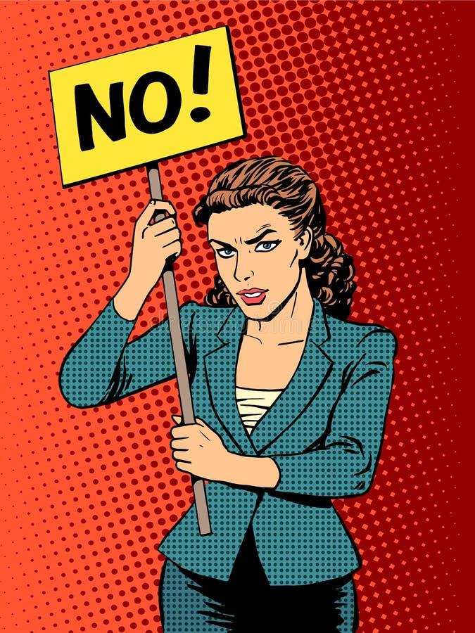 女实业家与没有的海报的政策抗议 皇族释放例证