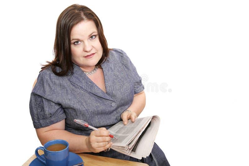 女实业家令人丧气的搜索工作 免版税库存图片
