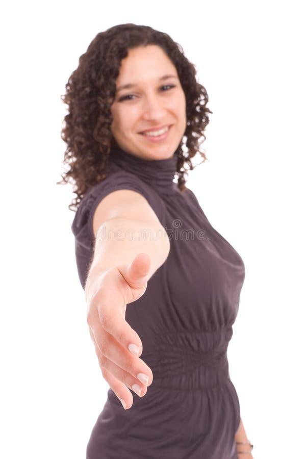 女实业家信号交换提供的年轻人 库存照片