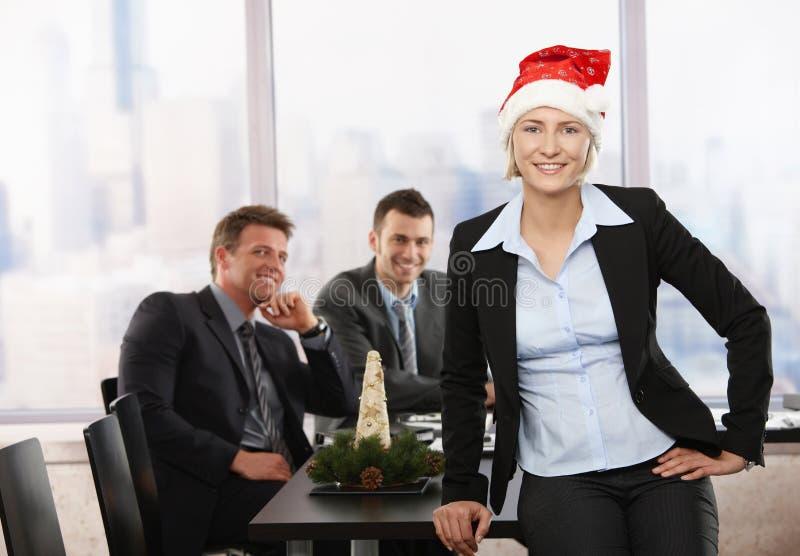 女实业家克劳斯帽子圣诞老人 库存图片
