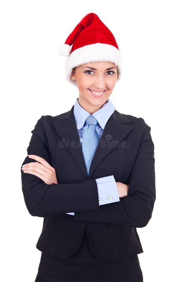 女实业家克劳斯帽子圣诞老人 免版税图库摄影