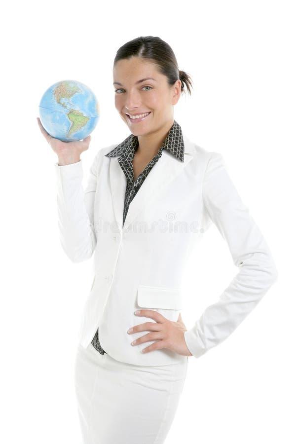 女实业家全球映射诉讼白色 库存图片