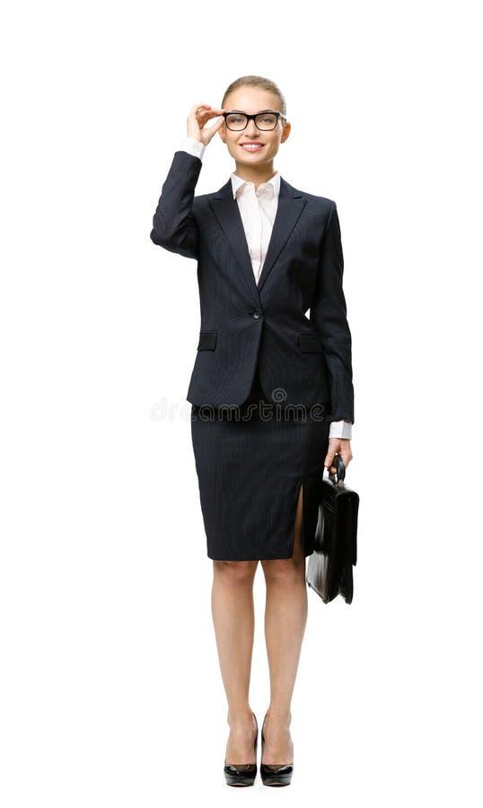女实业家全长画象有黑盒的 免版税图库摄影