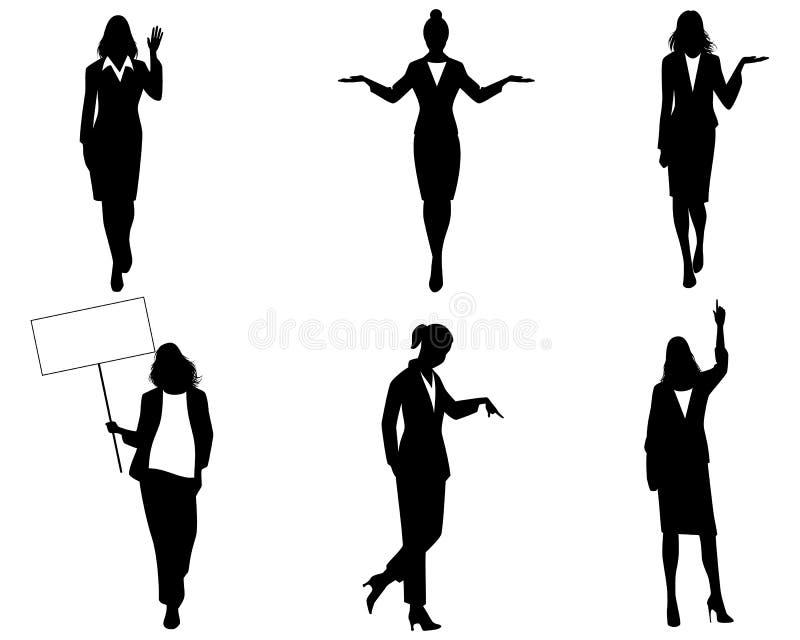 女实业家剪影行动的 向量例证