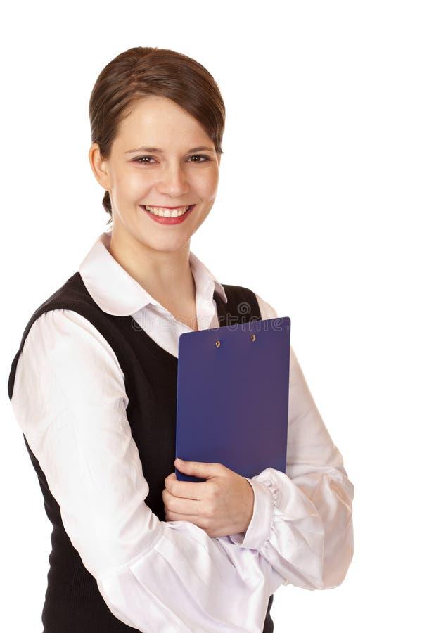 女实业家剪贴板确信的自 库存图片