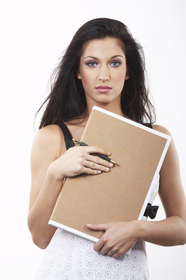 女实业家剪贴板 免版税图库摄影