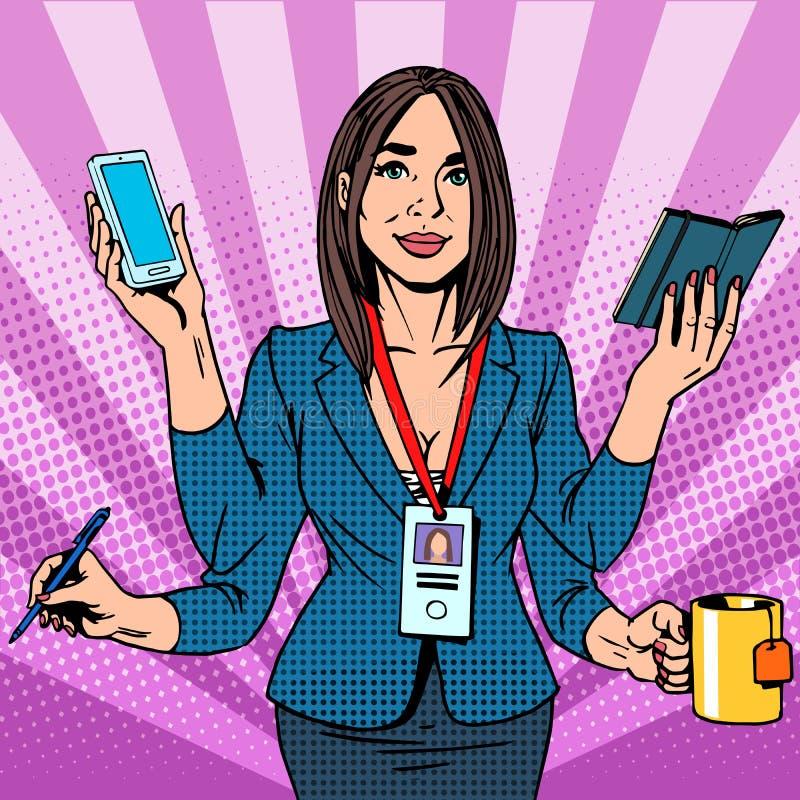 女实业家努力工作 向量例证