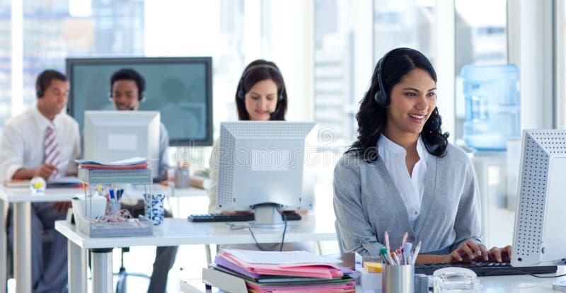 女实业家呼叫中心 免版税库存照片