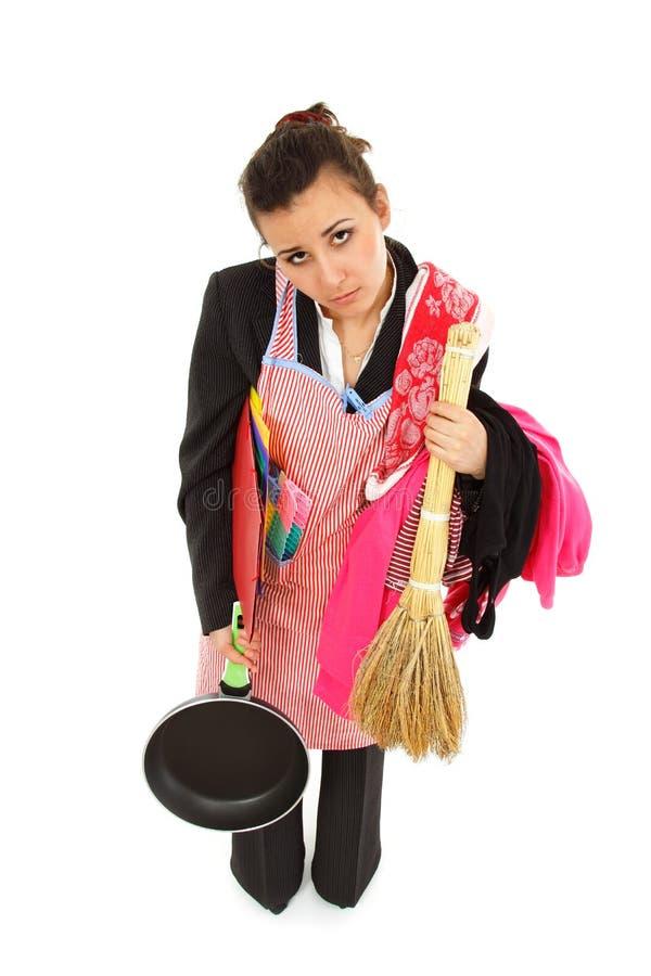 女实业家和主妇疲倦 免版税库存图片