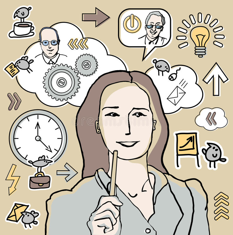 女实业家和企业图标 向量例证