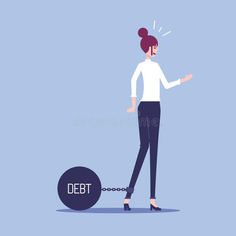 女实业家和债务 库存例证