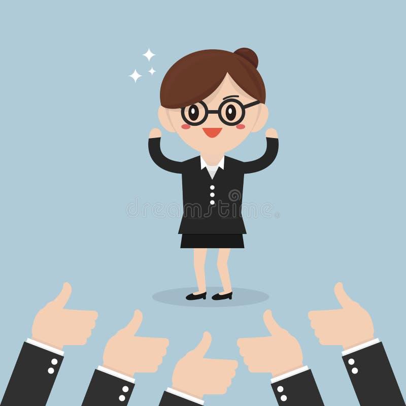 女实业家和许多手有赞许的 向量例证