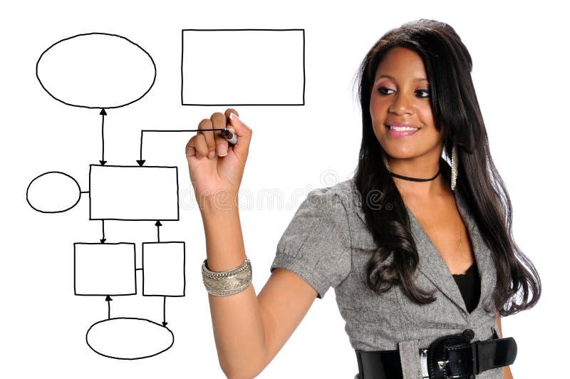 女实业家图表图画 免版税库存照片