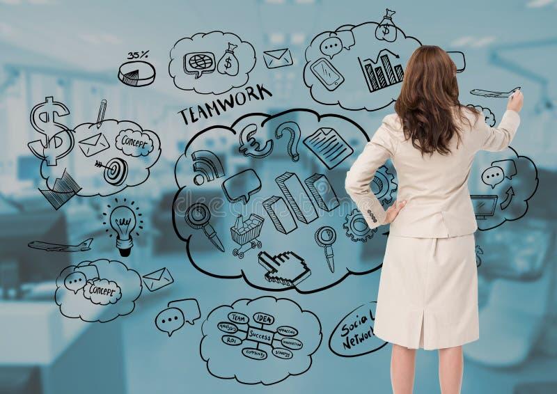 女实业家图画反对办公室的经营计划概念在背景中 免版税库存图片