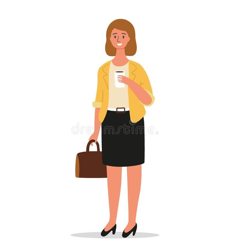 女实业家在手中站立与公文包 办公室工作者或企业家字符设计在手中拿着咖啡 向量例证