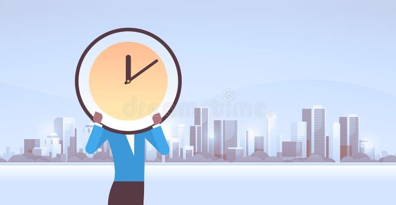 女实业家在面孔有效的时间管理最后期限企业效率概念非洲人前面的藏品时钟 向量例证
