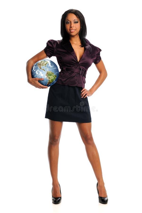 女实业家地球藏品 图库摄影