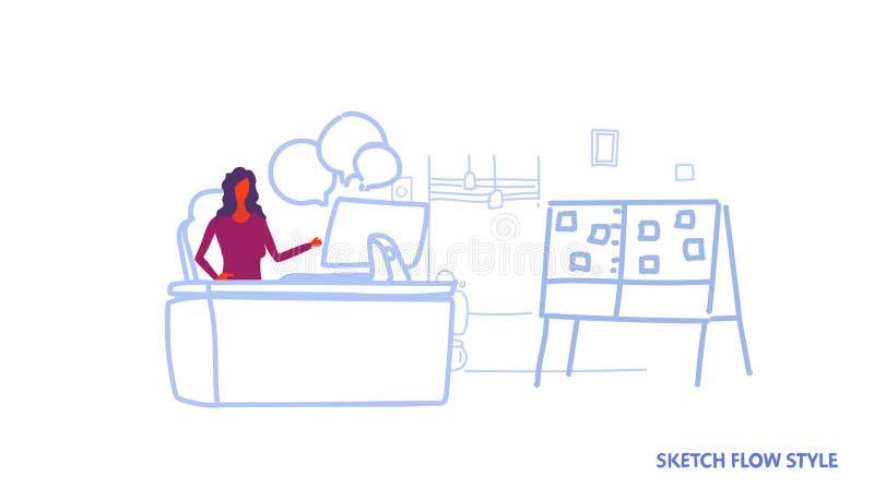 女实业家坐的办公室工作场所女商人运转的计算机闲谈泡影通信概念现代内阁 库存例证