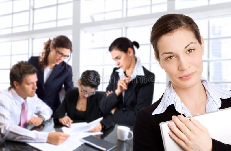 女实业家她的小组 免版税库存照片