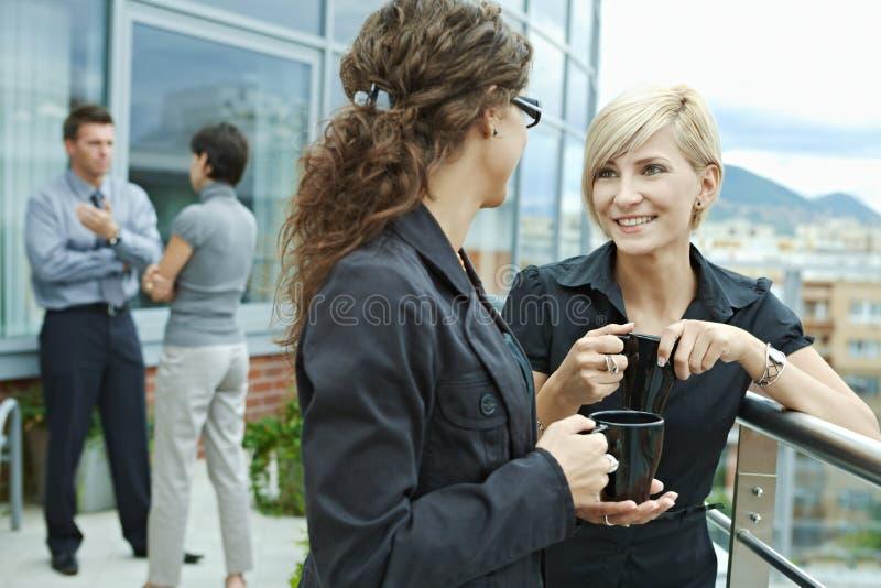 女实业家室外联系 库存图片