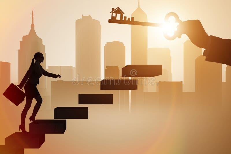 女实业家对负关键在房地产概念 向量例证