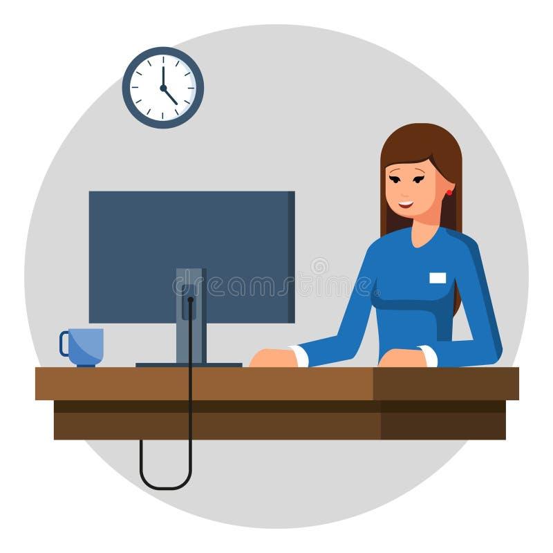 女实业家或工作在她的办公桌的干事 平的样式现代传染媒介例证 向量例证