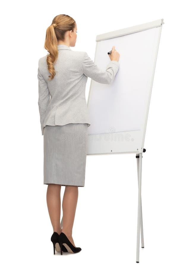 女实业家或老师有标志的从后面 免版税库存照片