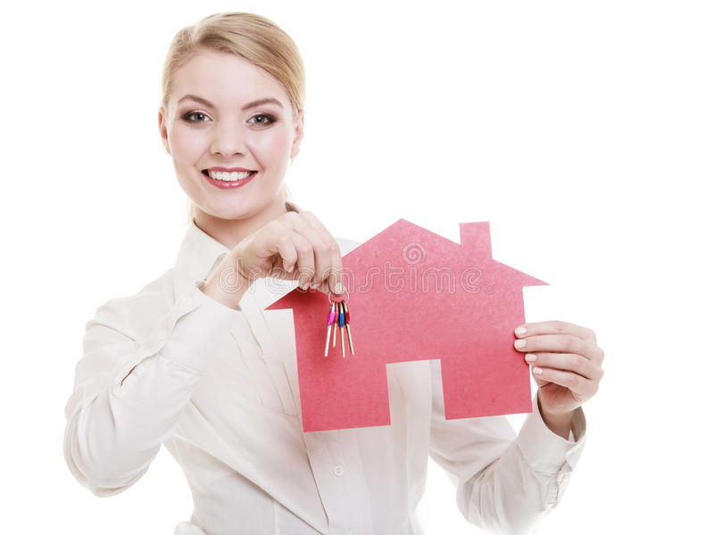 女实业家房地产开发商纸房子钥匙 库存照片