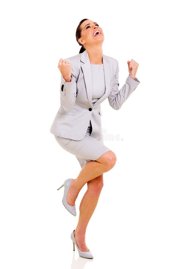 女实业家挥动的拳头 免版税库存图片