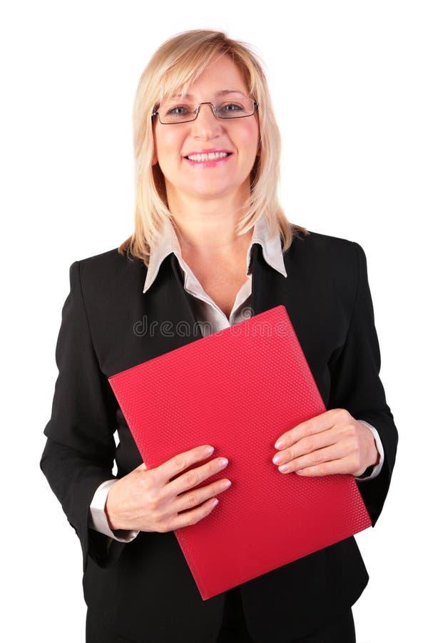 女实业家文件夹中年红色 图库摄影