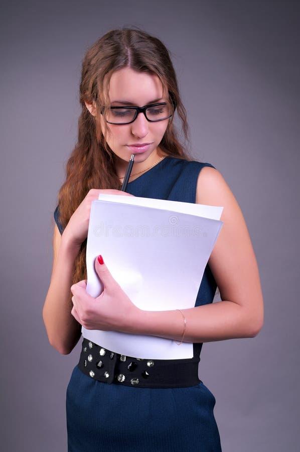 女实业家文件 免版税库存图片