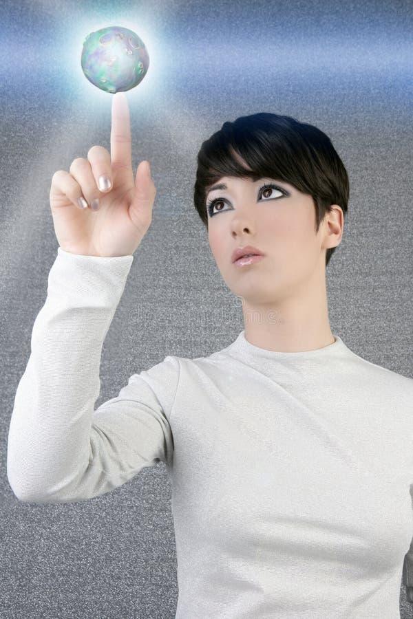 女实业家未来派全球行星接触 免版税库存图片