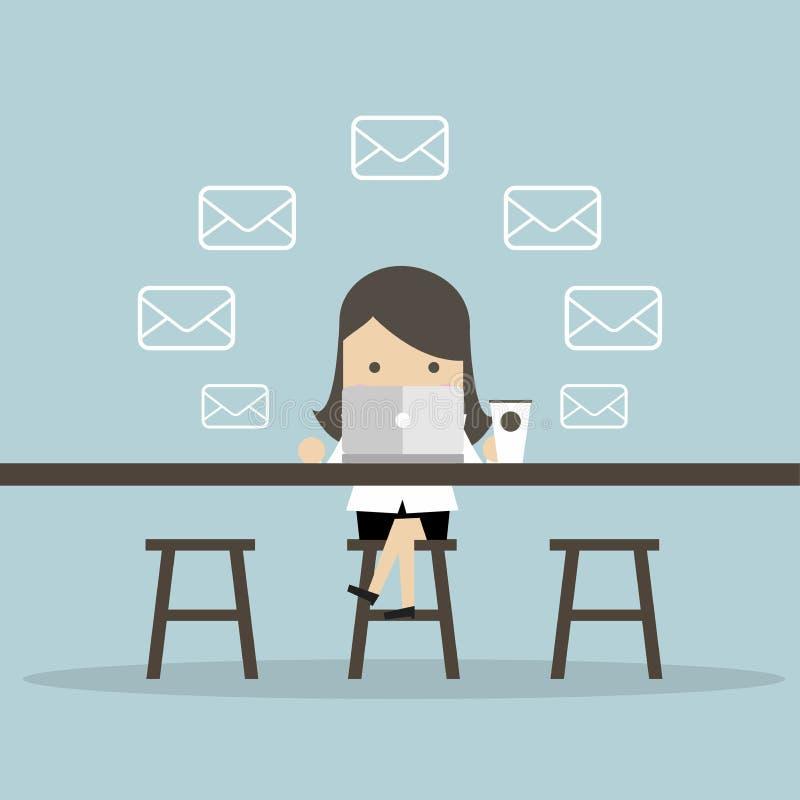 女实业家检查电子邮件在咖啡店 向量例证