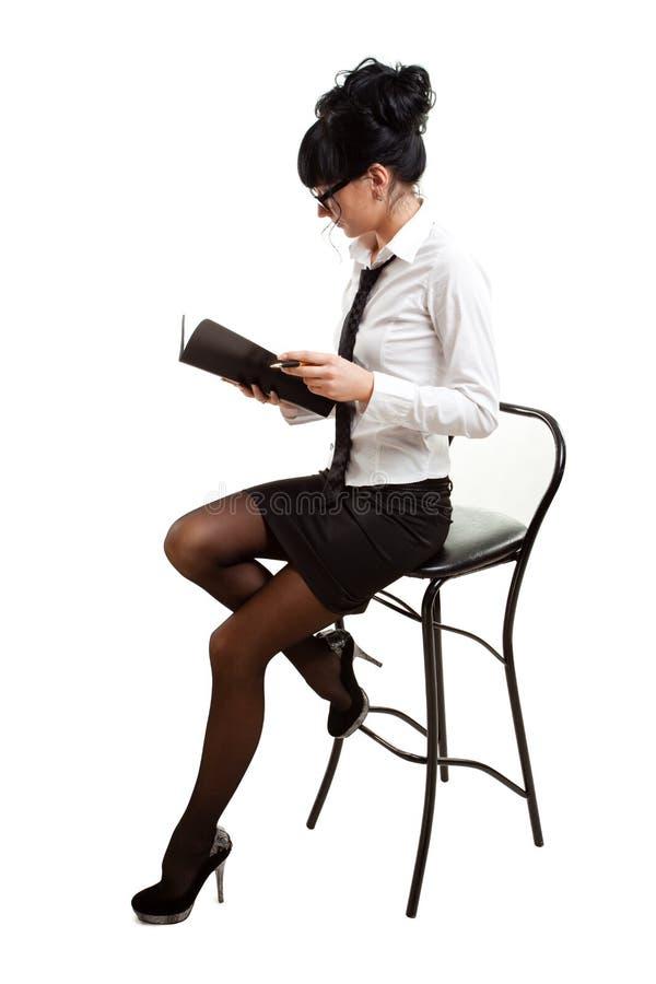 女实业家椅子 库存图片