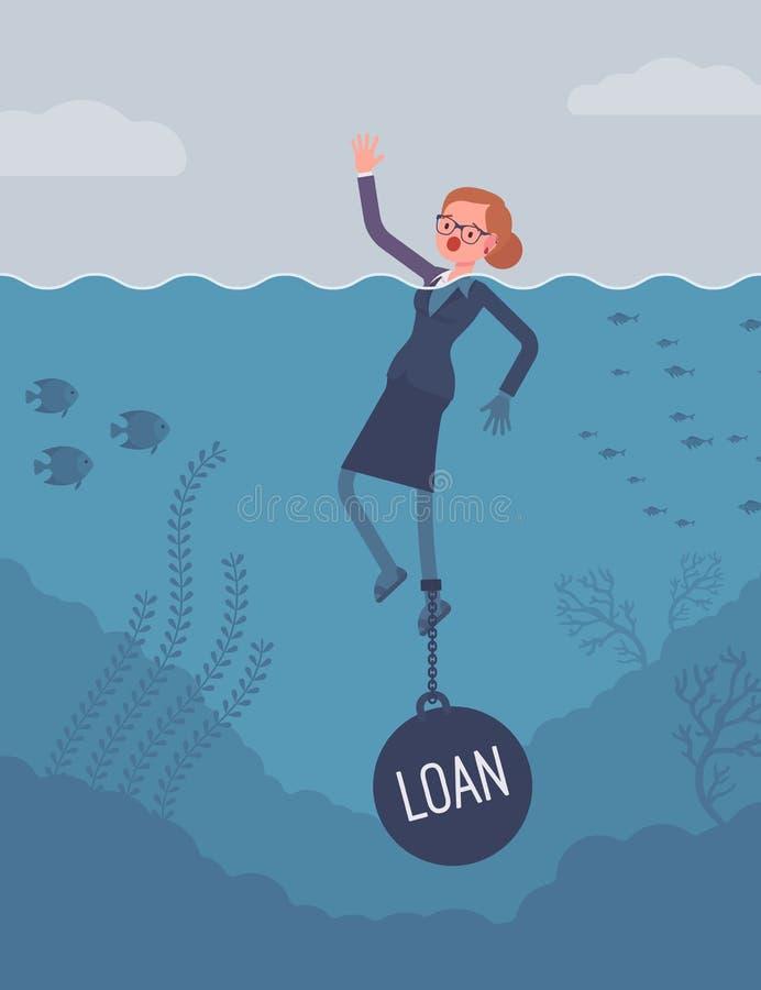 女实业家淹没束缚了与重量贷款 向量例证
