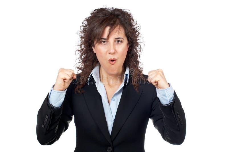 女实业家激动 免版税库存图片