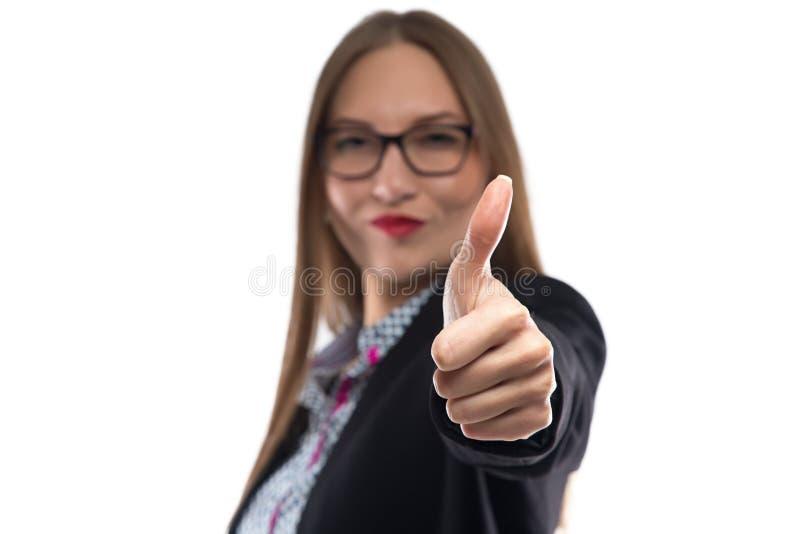 女实业家照片显示拇指的玻璃的 免版税库存图片