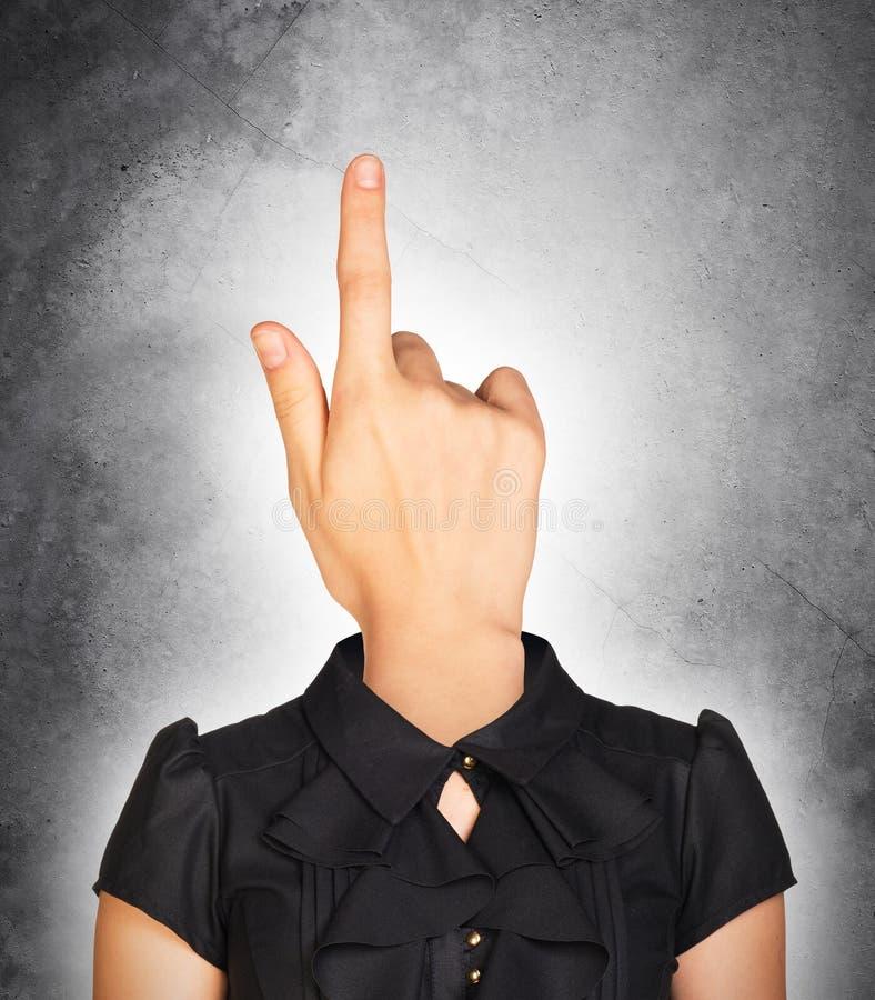 女实业家用手朝向 免版税图库摄影