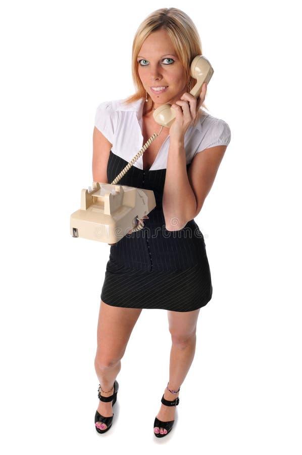 女实业家电话年轻人 免版税图库摄影