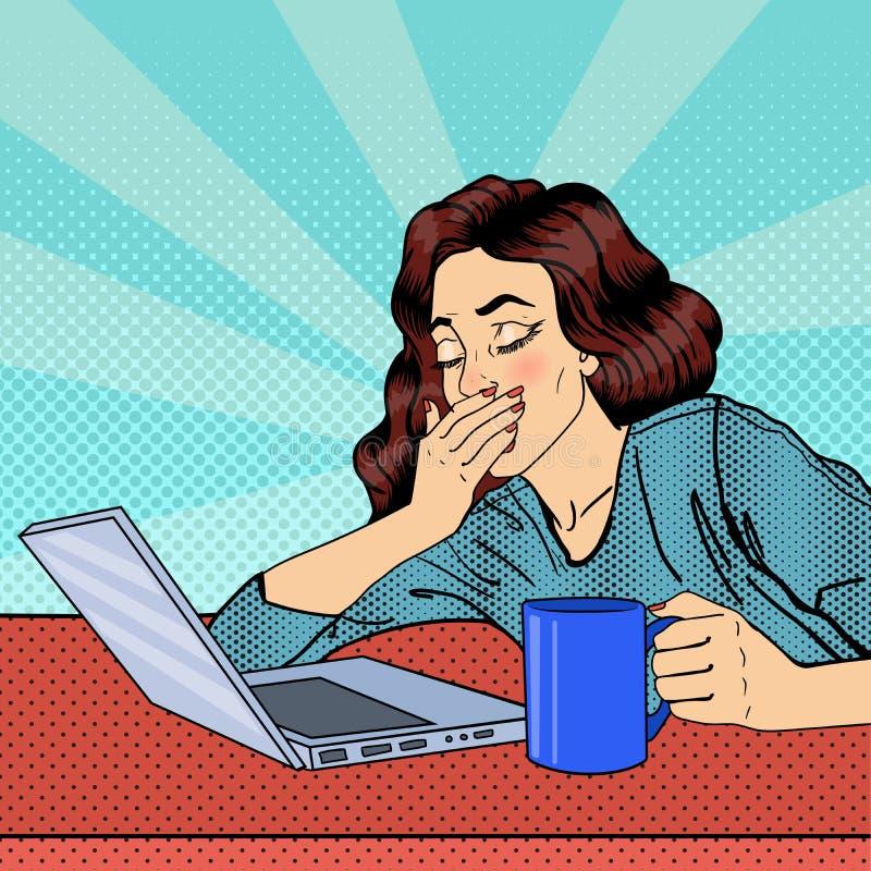 女实业家疲倦 有膝上型计算机的被用尽的妇女 流行艺术 向量例证