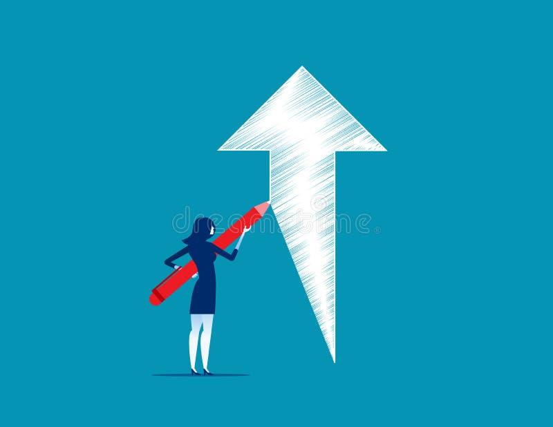 女实业家登高的箭头图画概述  概念busine 库存例证