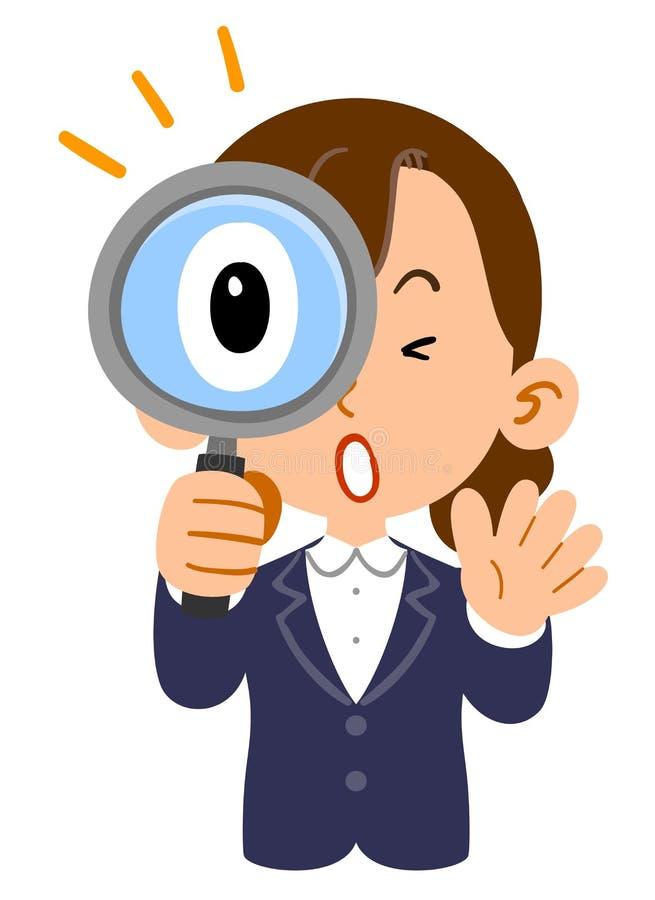 女实业家的上半身体,新来者,就业,学生,惊奇对调查放大镜 向量例证