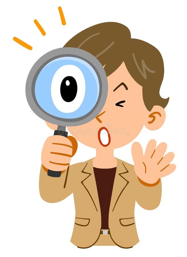 女实业家的上身,短头发,活跃,惊奇对调查放大镜 库存例证