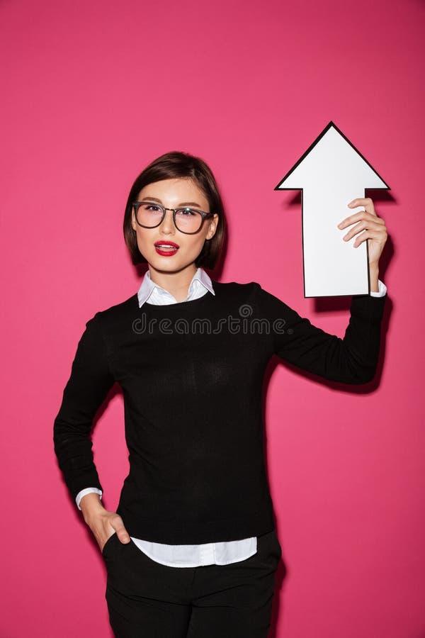 女实业家确信的纵向年轻人 库存照片