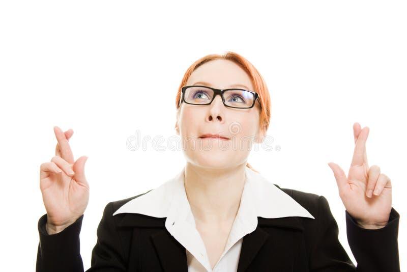 女实业家祈祷的诉讼 库存照片