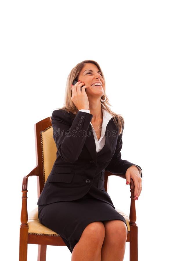 女实业家移动电话她联系 库存照片