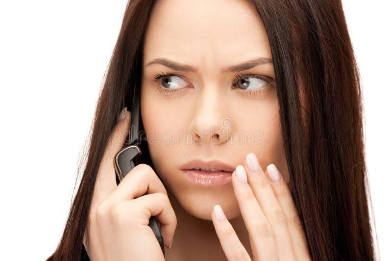 女实业家移动电话 免版税库存照片