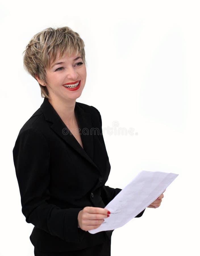 女实业家纸张 免版税库存照片